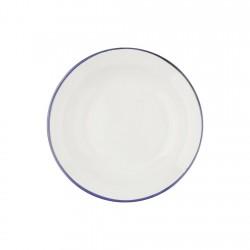Plato Hondo Acero Esmaltado Blanco y Azul 24cm Ibili