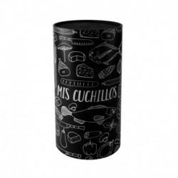 Portacuchillos cilindrico negro Lugano