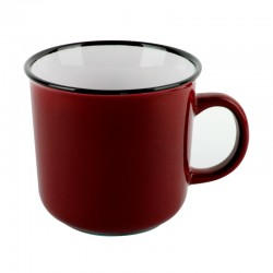 Mug 420cc Color Rojo Enamel Look Lugano