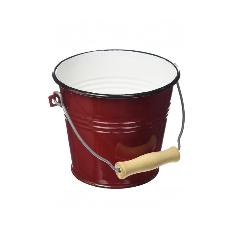 Balde con Asa 1,5lt Acero Esmaltado Rojo 14cm Ibili
