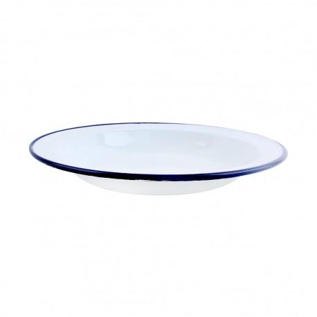 Plato Bajo Acero Esmaltado Blanco/Azul 26cm Ibili