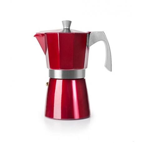 Cafetera Italiana  Express Aluminio 0,9lt 9tz Roja Evva Ibili