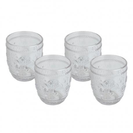 Set 4 Vasos Bajo 260ml Flor de Lis Clear Contour