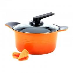 Cacerola Con Asas de Silicona 24cm Naranja Roichen