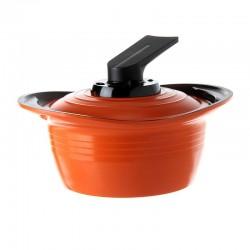 Olla Con Asas Silicona y Tapa 18cm Naranaja Premium Roichen