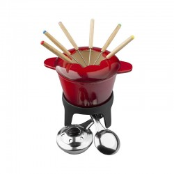 fondue rojo fierro esmalt. c/6 tenedores lugano