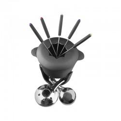 fondue negro fierro c/6 tenedores lugano